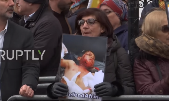 (English) UK: 'Russia, shame on you!' - Protesters demand Moscow take action in Afrin